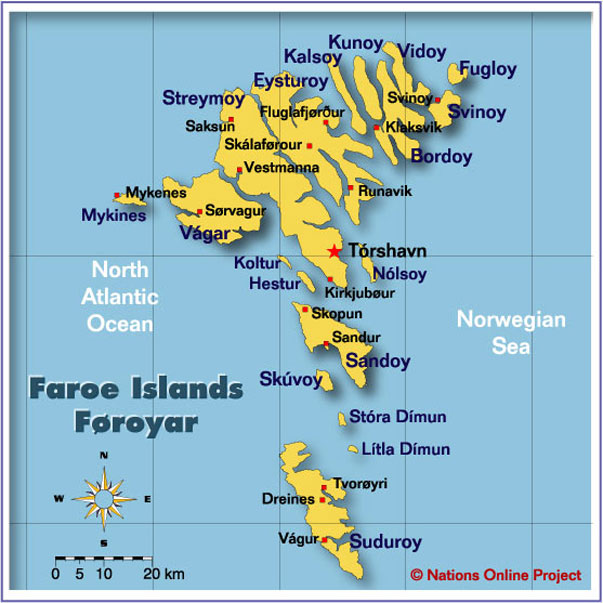 Map Of The Faroe Islands Nations Online Project - Islands map
