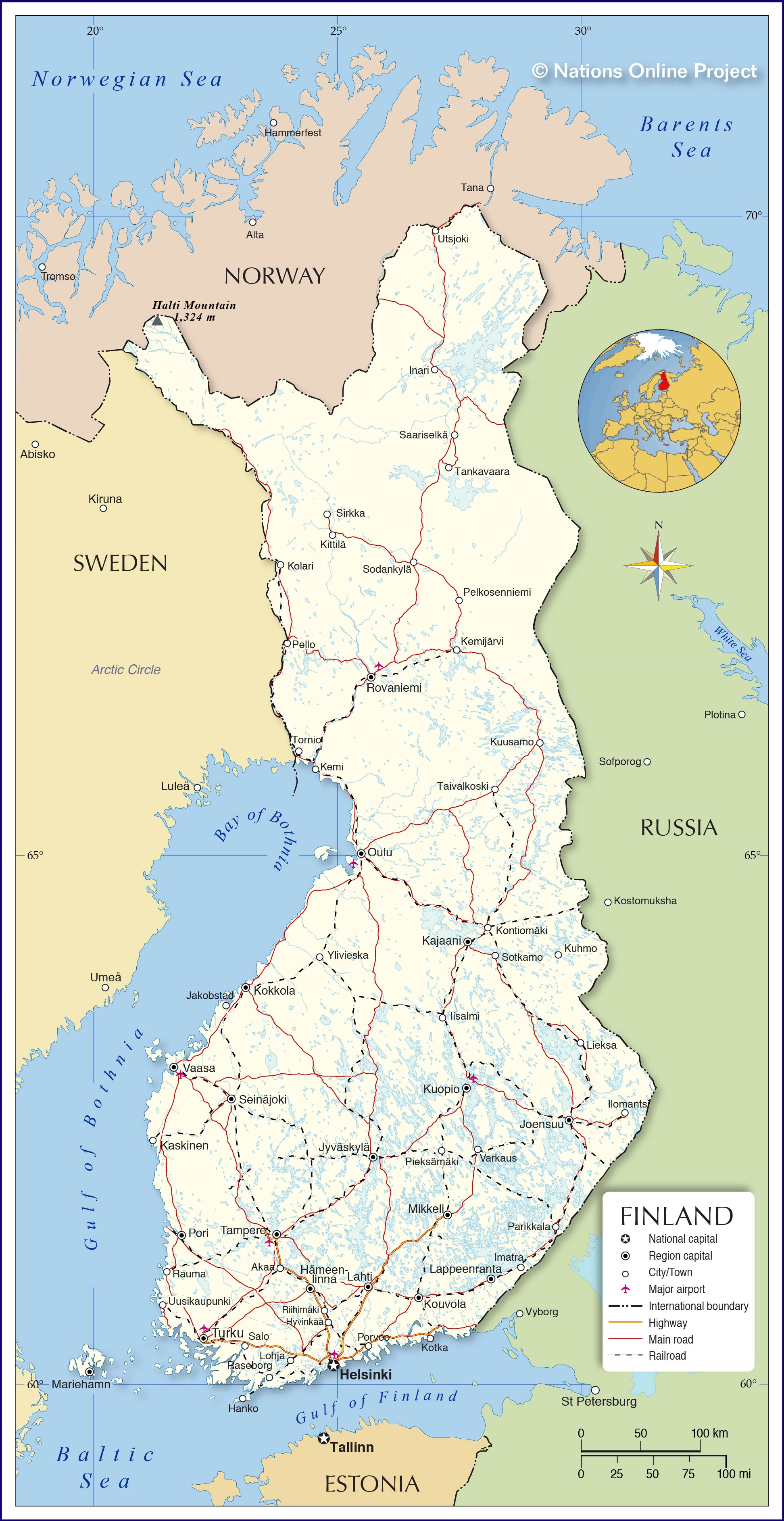 Map of finland nations online project political map of finland gumiabroncs Choice Image