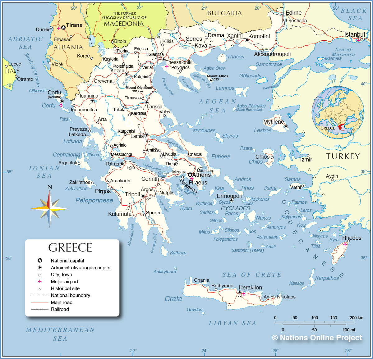 Ancient Greece Map With Cities.Political Map Of Greece Nations Online Project