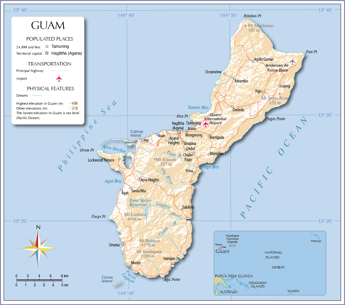 Guam Island Map Map of Guam   Nations Online Project