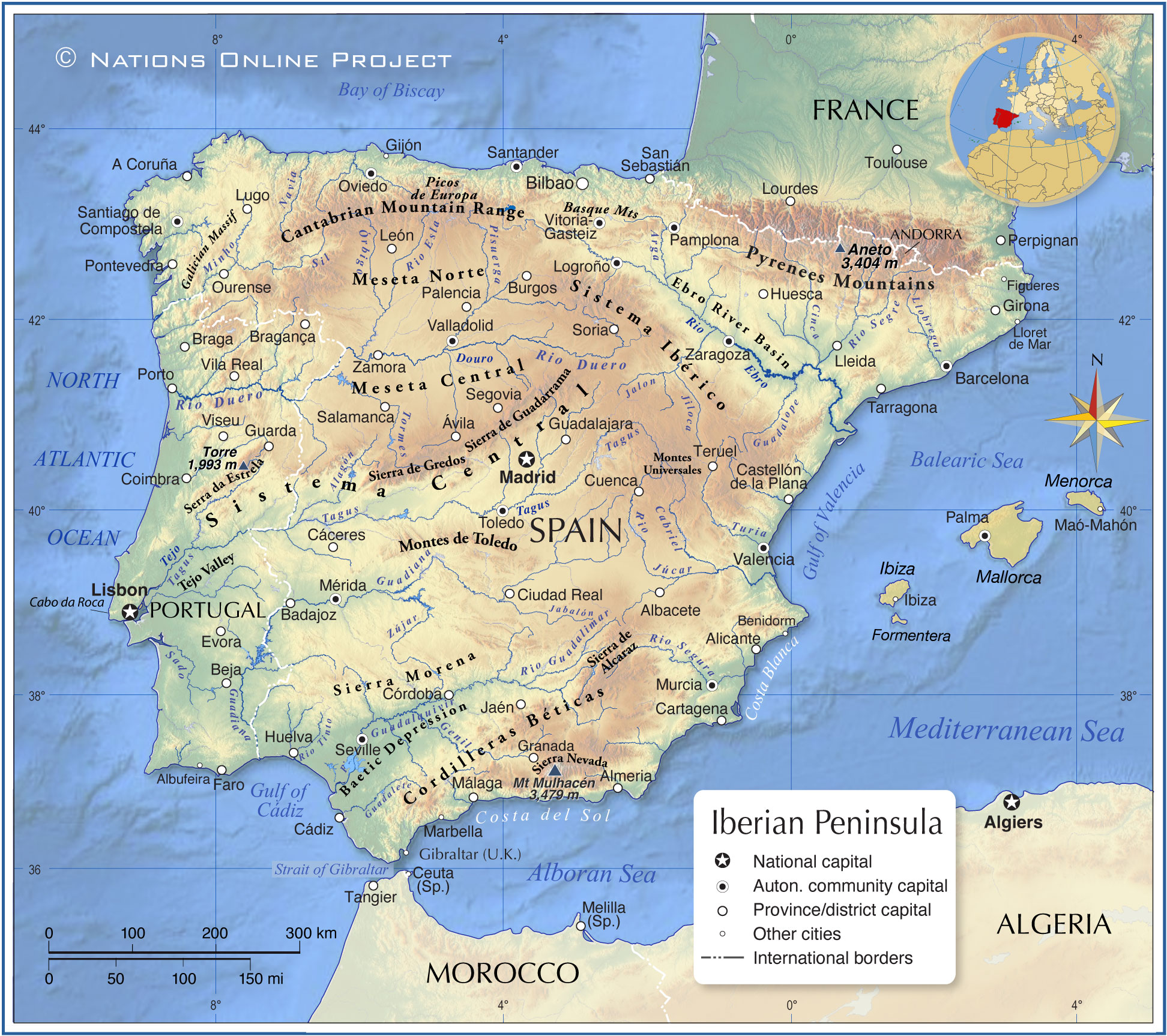 iberian peninsula on map of europe Topographic Map of the Iberian Peninsula   Nations Online Project