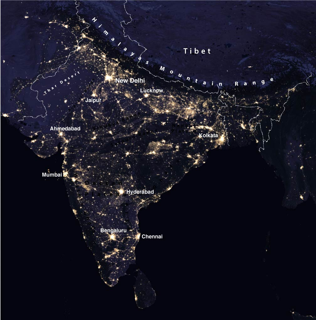 Satellite image of the Indian subcontinent at night
