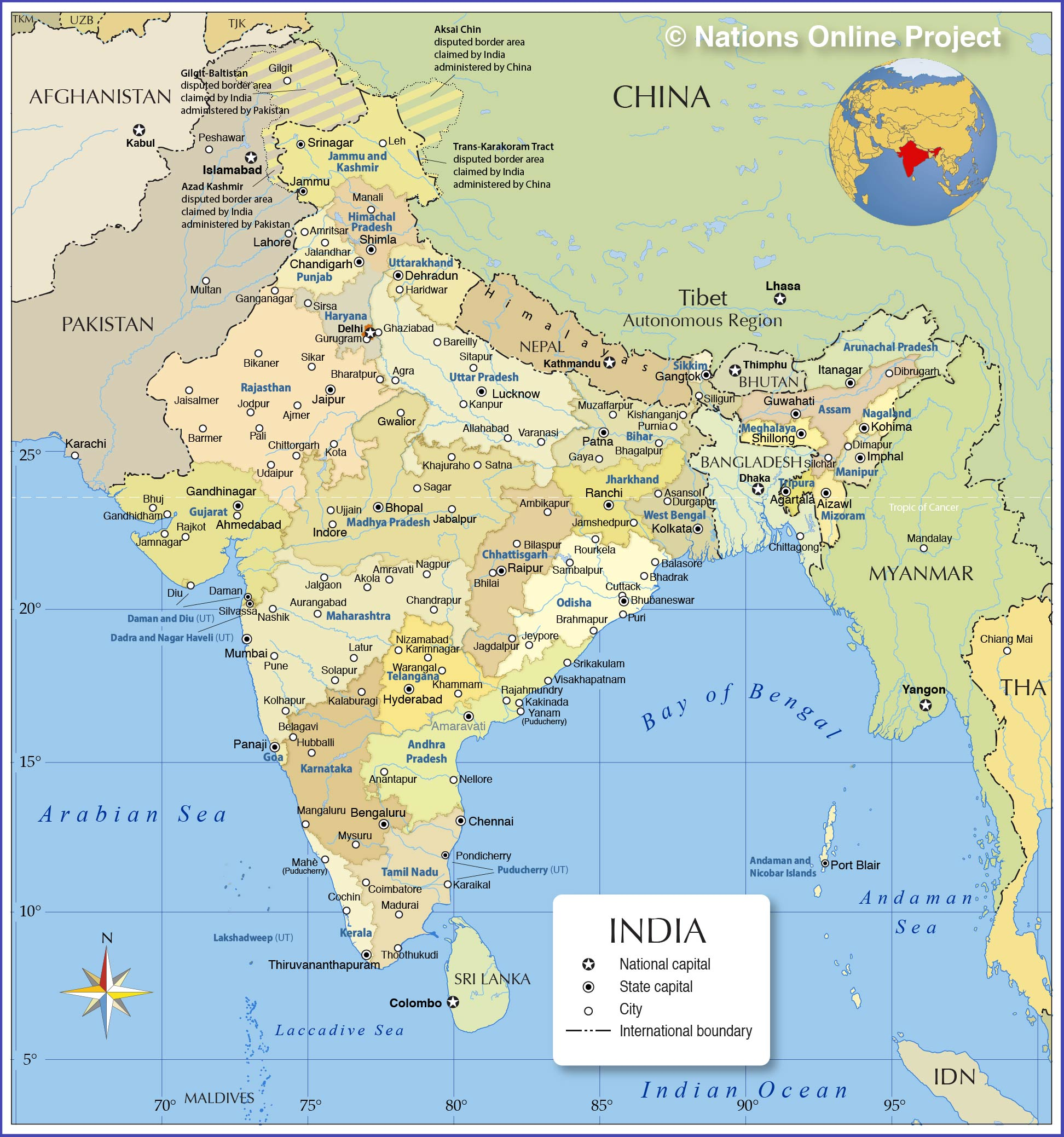 Map of india nations online project administrative map of india with states and capitals and major cities gumiabroncs Images