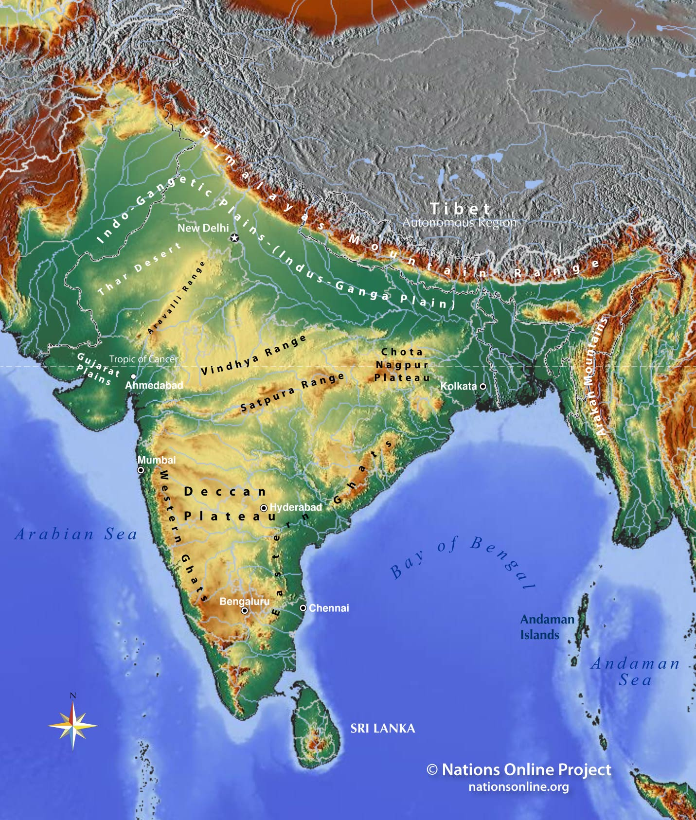 Topographic Map of the Indian subcontinent