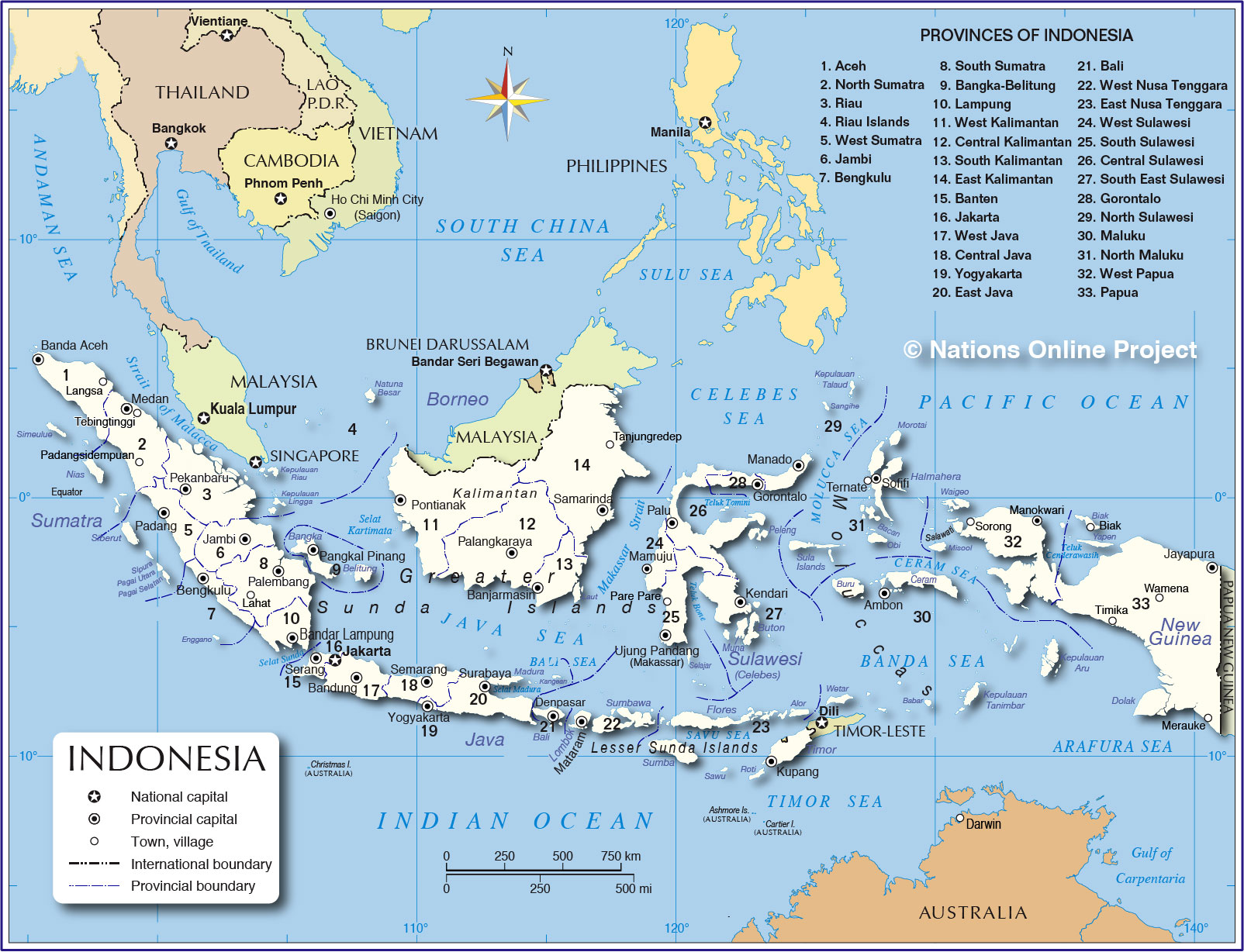 Administrative Map of Indonesia - Nations Online Project