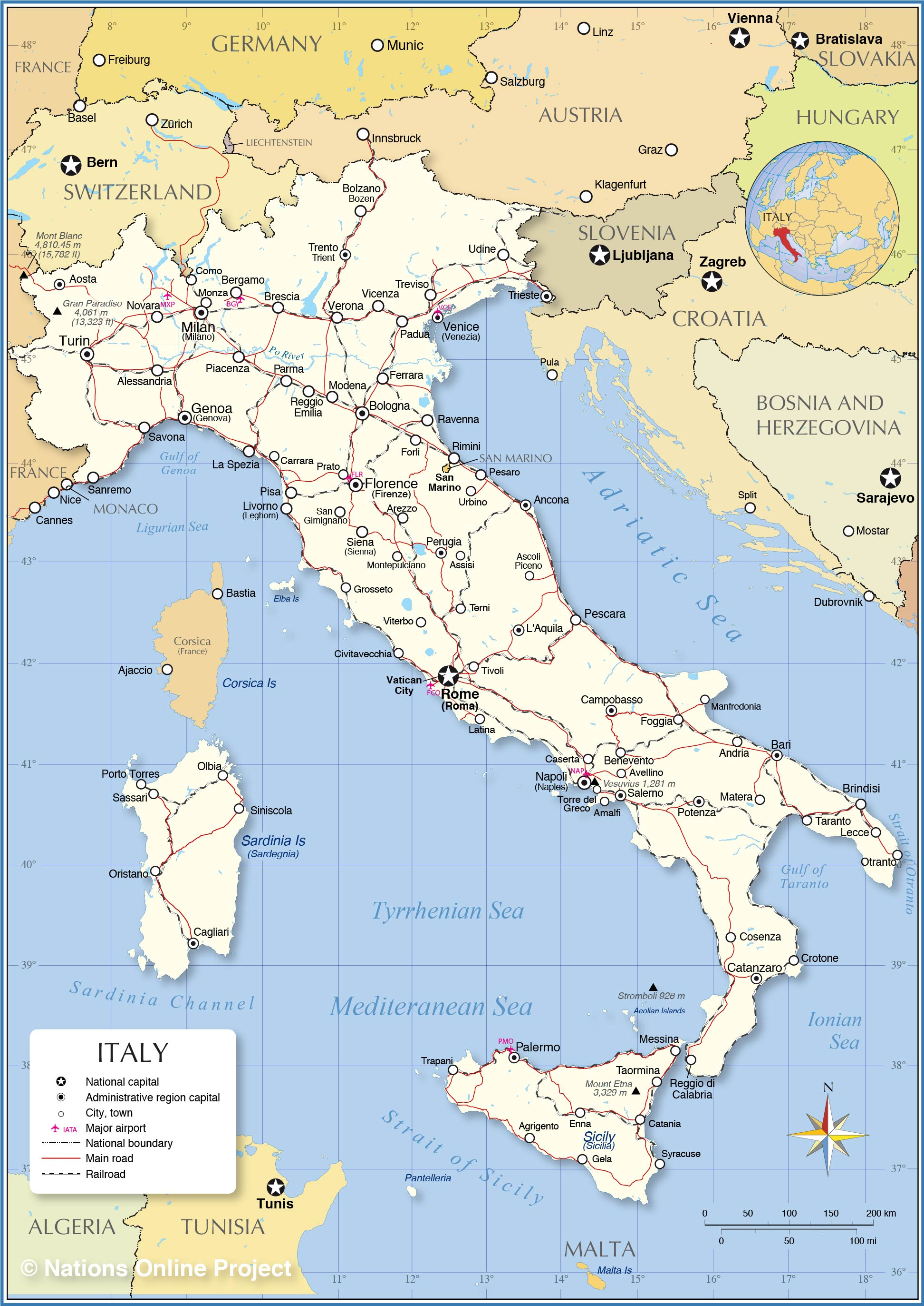 political map of italy  nations online project - detailed map of italy