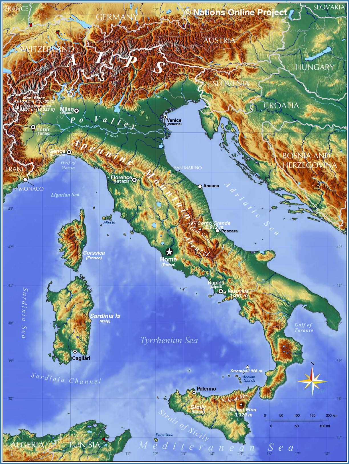 Map Of Italy Torino.Political Map Of Italy Nations Online Project