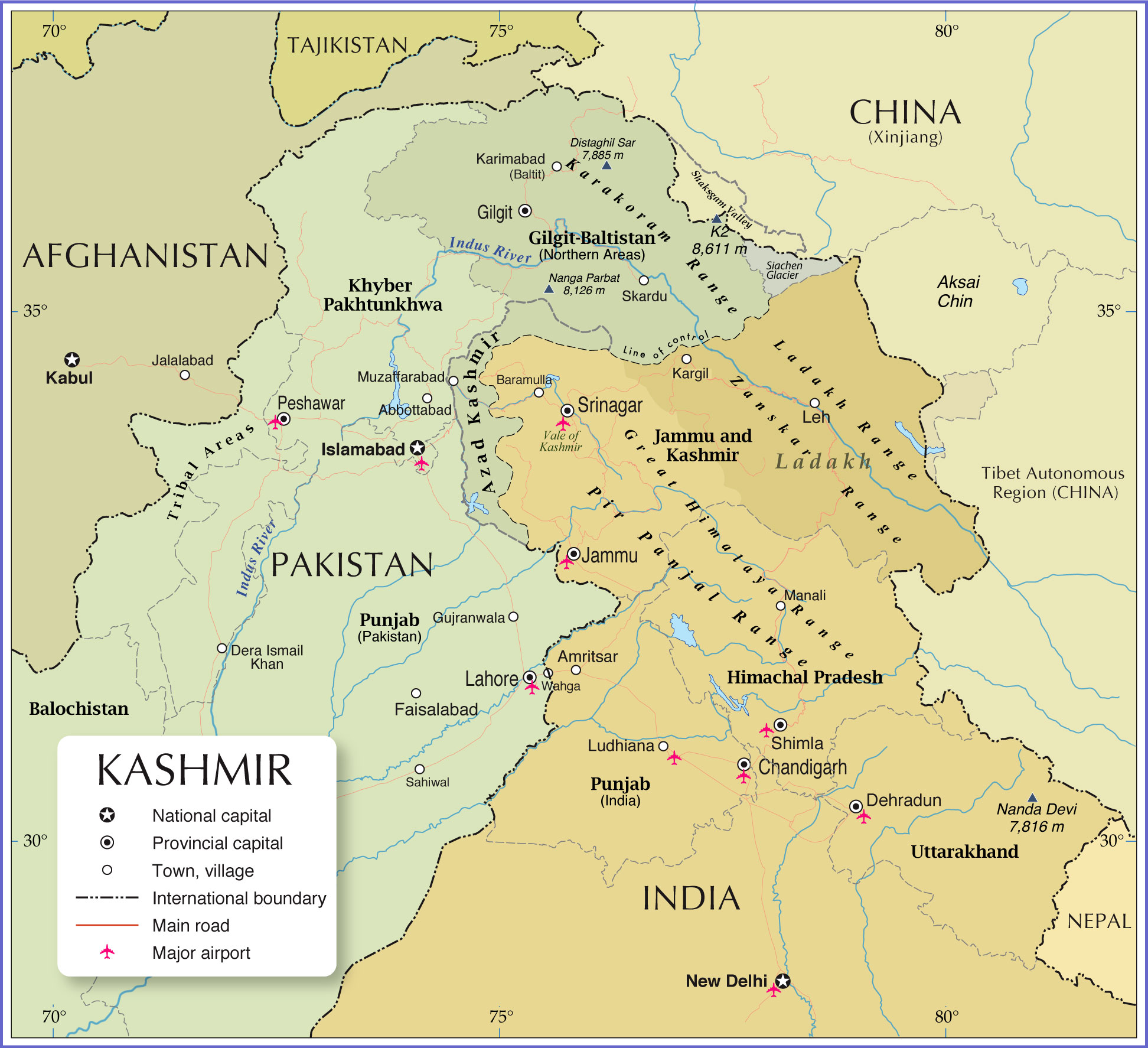 Map Of Kashmir Political Map of Kashmir Region   Nations Online Project Map Of Kashmir