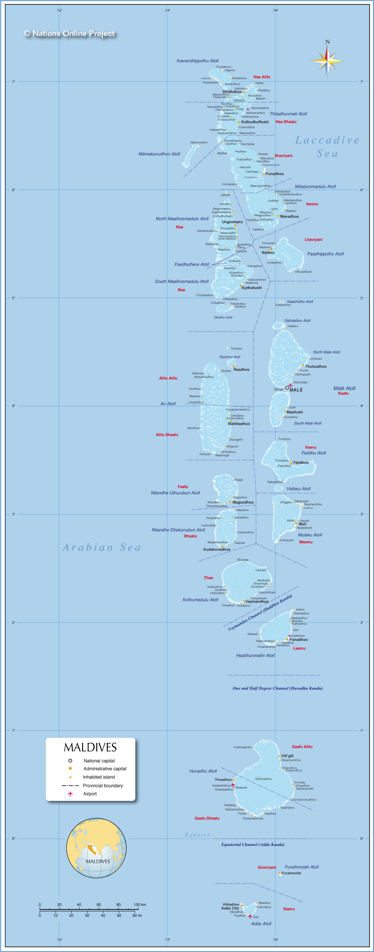 Political Map of Maldives Nations Online Project
