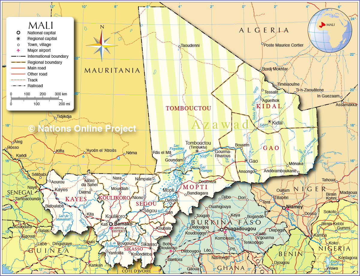 Political Map of Mali   Nations Online Project