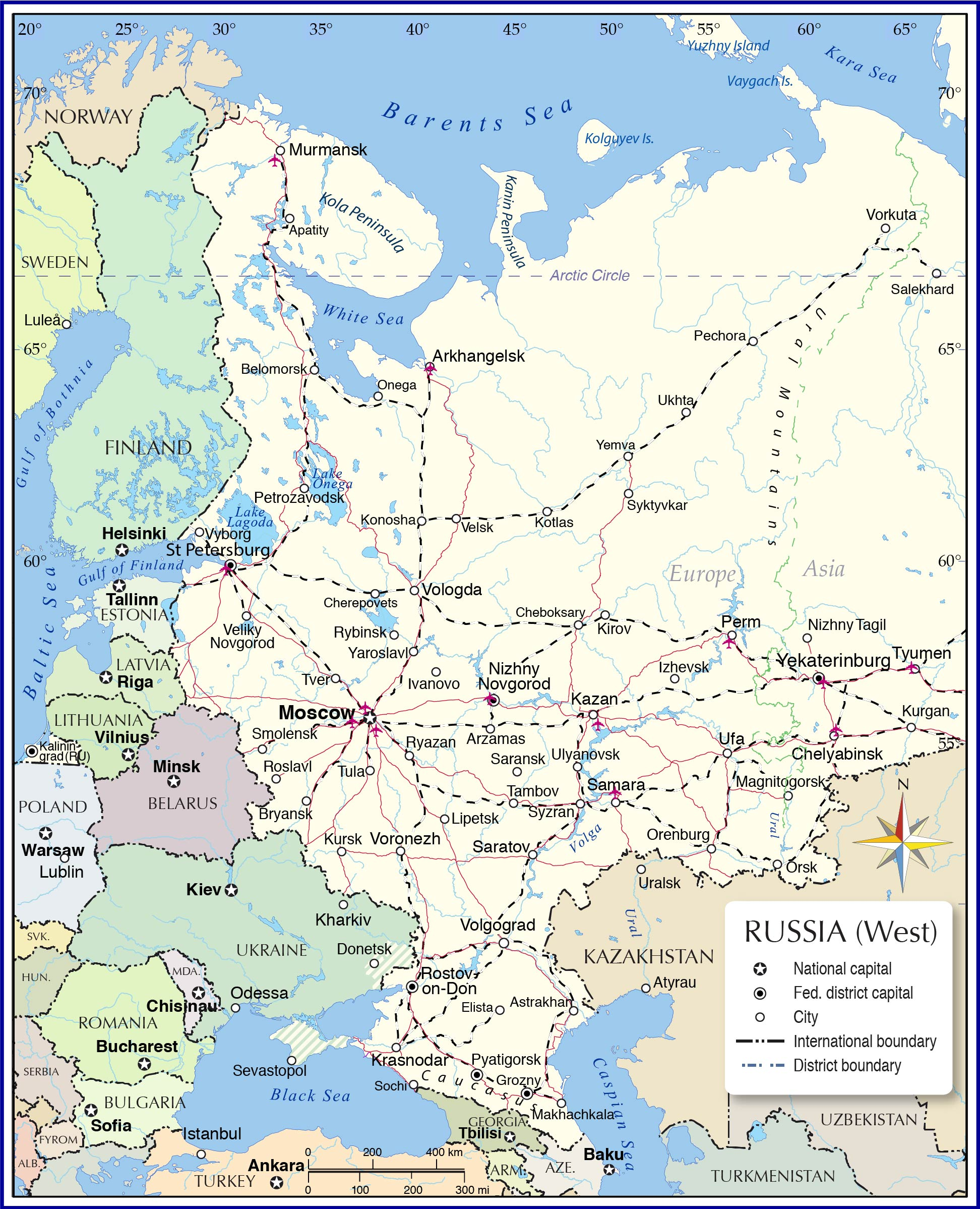 map of europe asia border Map of European Russia   Nations Online Project
