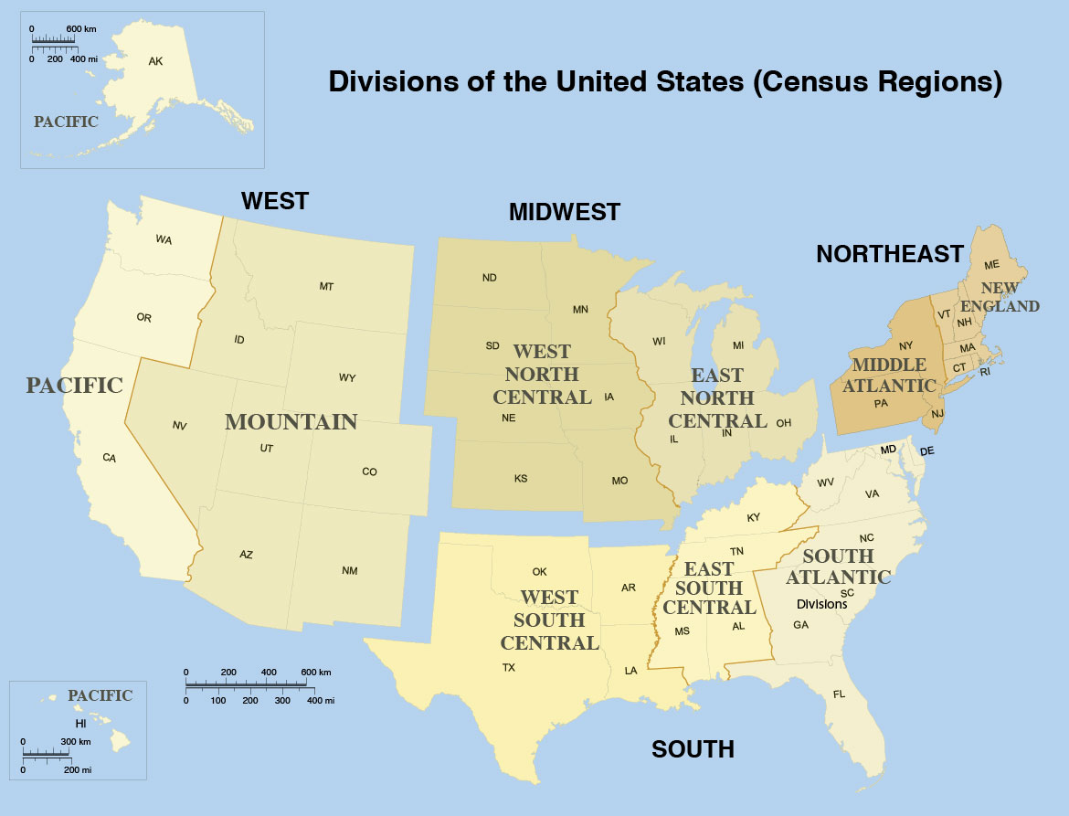 Map of Divisions of the United States (Census Regions)