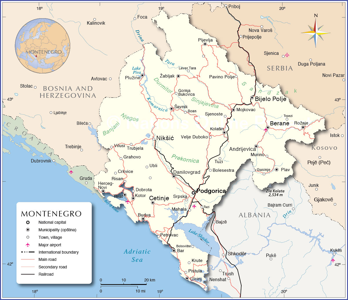 Political Map Of Montenegro Nations Online Project - Montenegro maps with countries