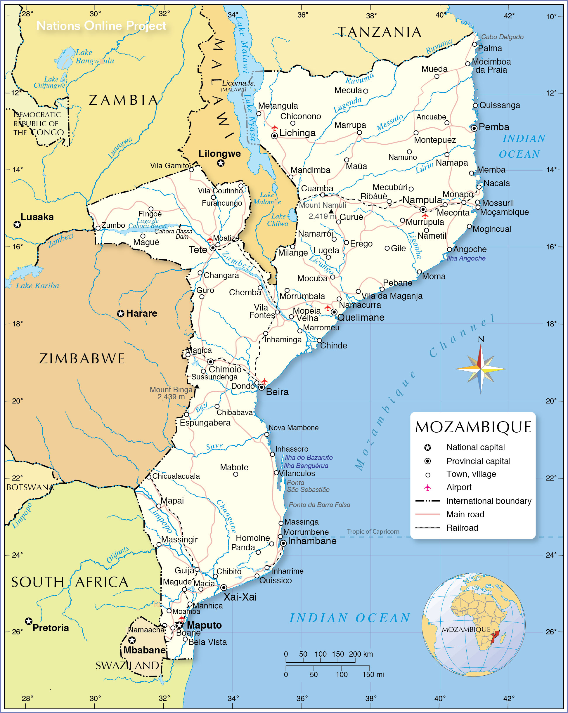 Map 0f South Of France.Political Map Of Mozambique Nations Online Project
