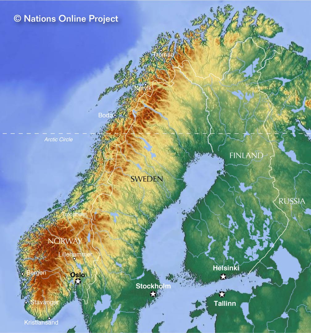 Map Of Norway Nations Online Project - Norway lakes map
