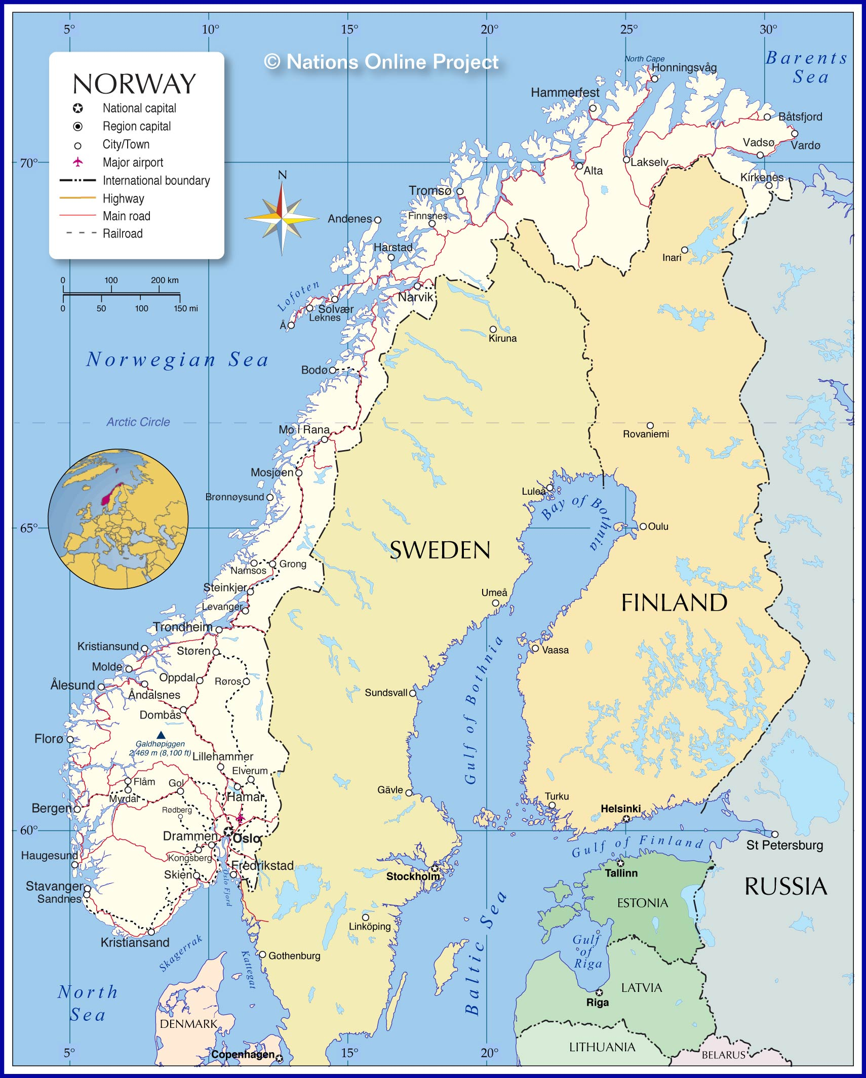 Political Map Of Norway Nations Online Project