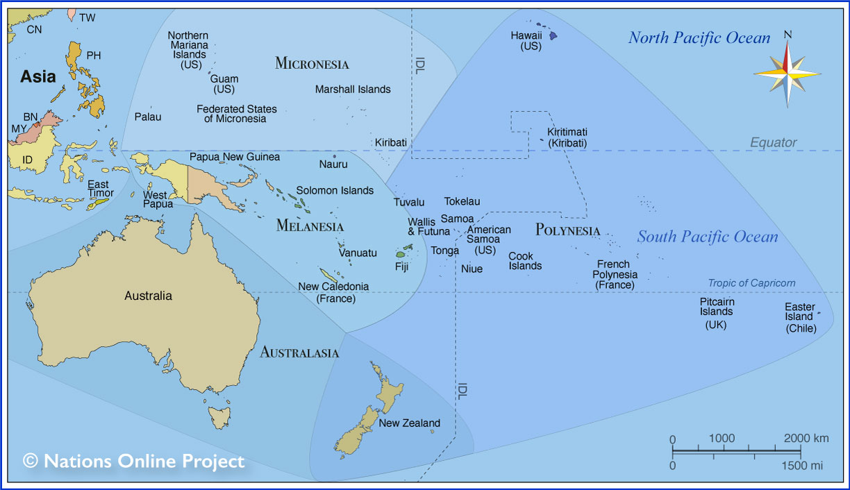 Countries By Continent Australia And Oceania Nations Online Project