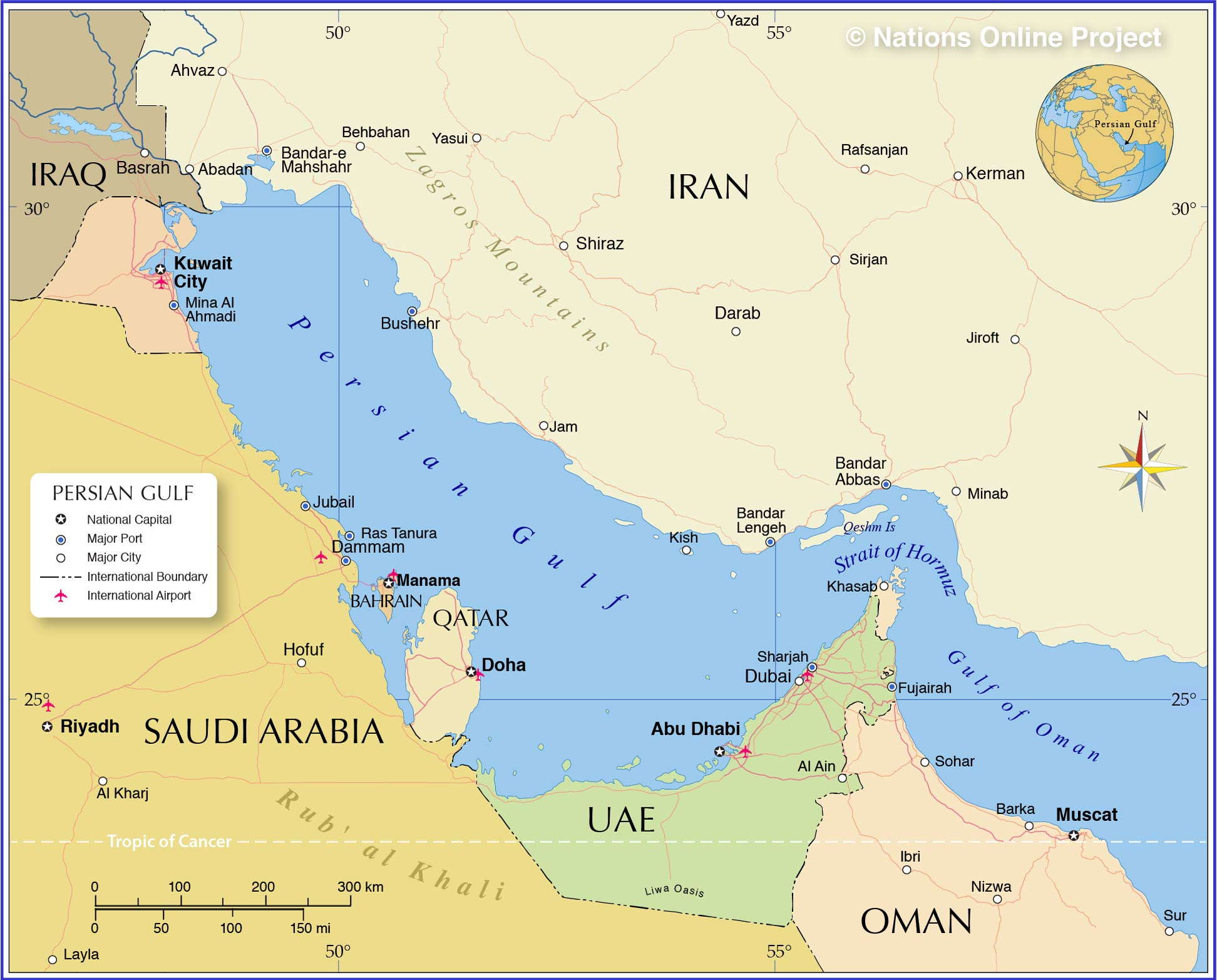 Image of: Political Map Of Persian Gulf Nations Online Project