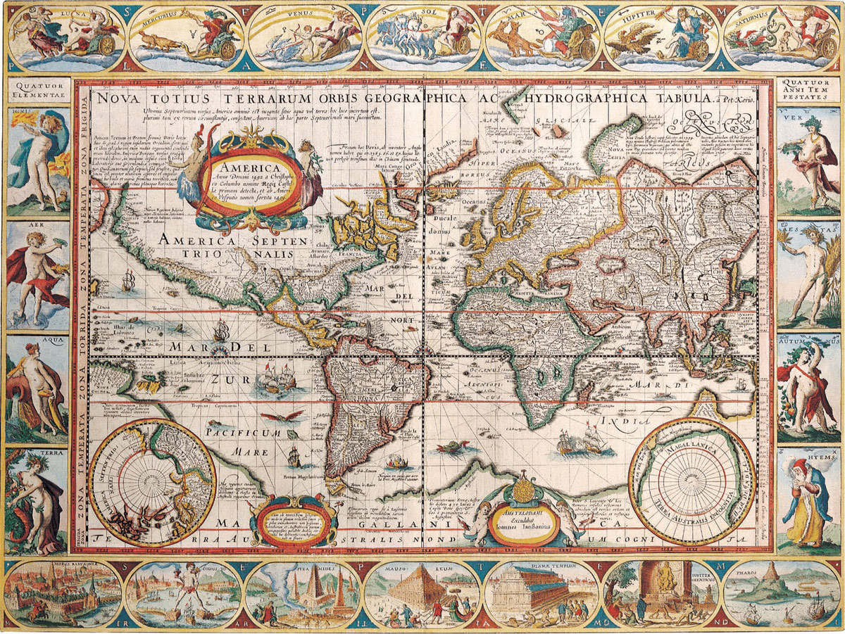 Antique map of the world nations online project 17th century map of the world gumiabroncs Image collections