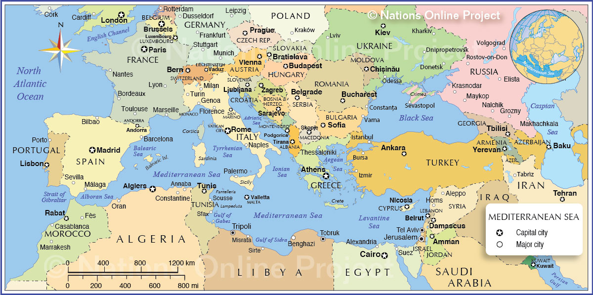 World Map Mediterranean Sea Political Map of the Mediterranean Region   Nations Online Project
