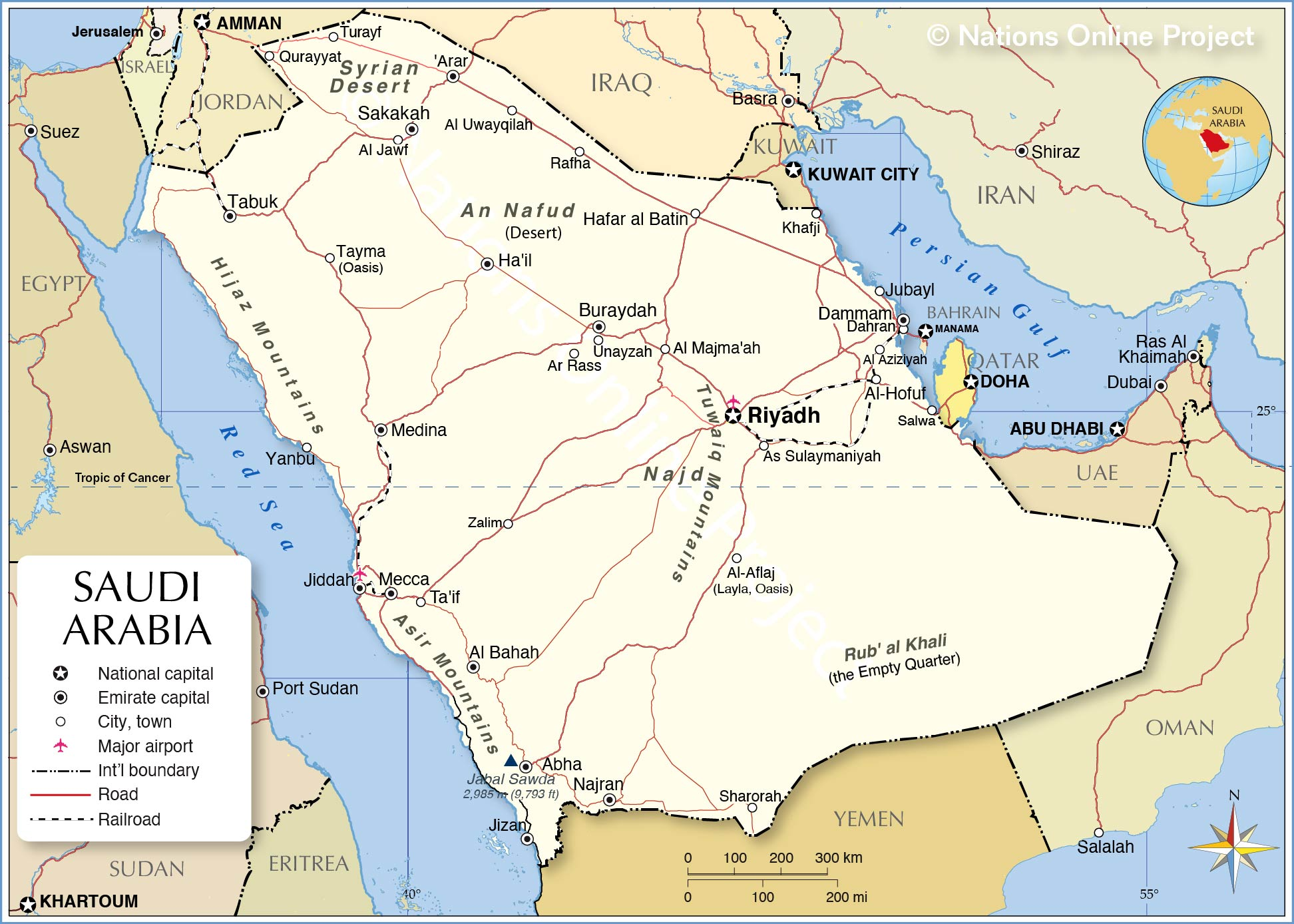 Political Map of Saudi Arabia - Nations Online Project