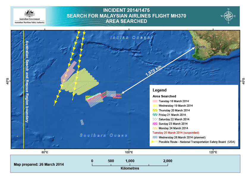 Narrowed MH 370 Search area Southern Indian Ocean