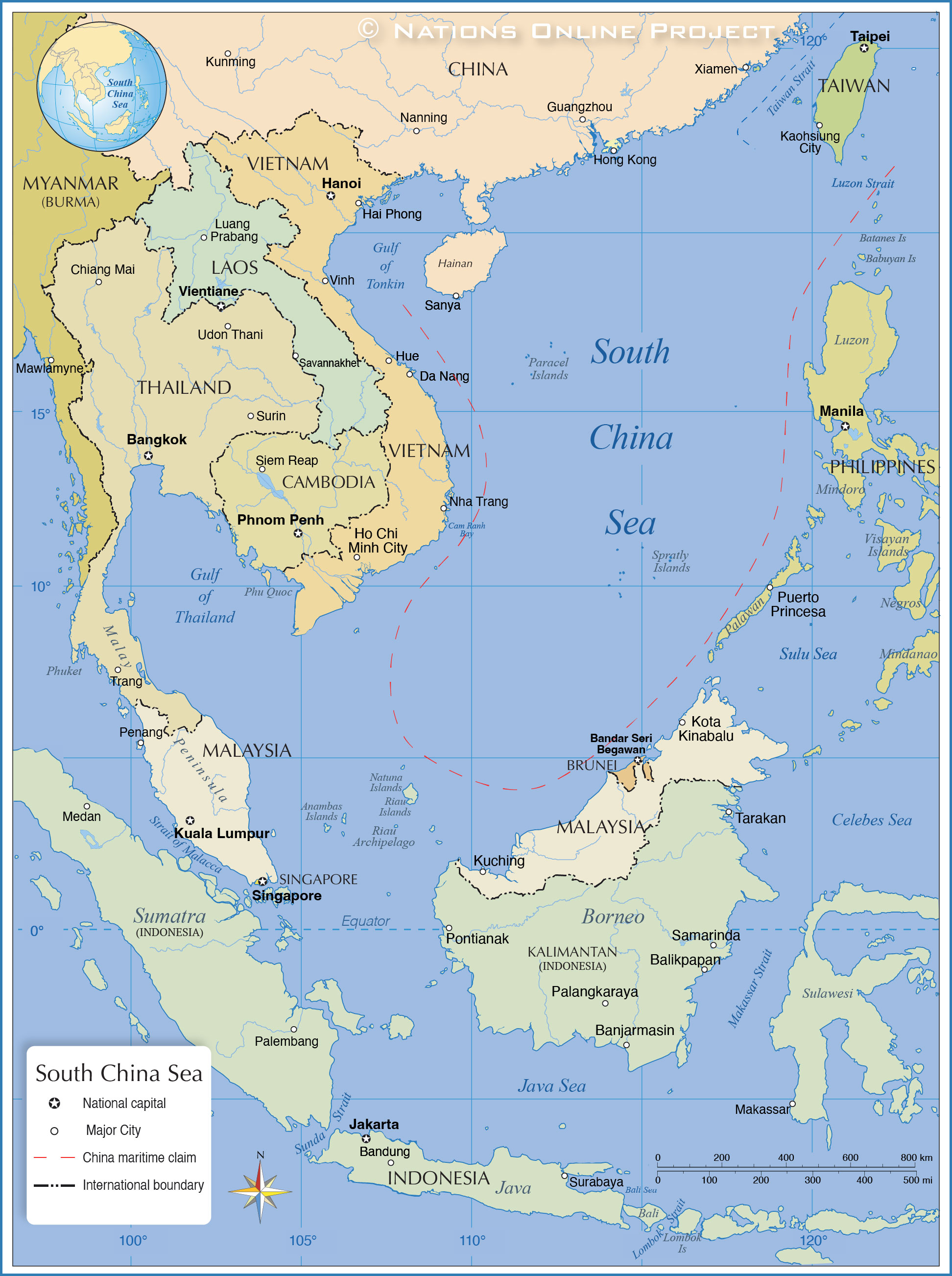 China Sea Map Political Map of South China Sea   Nations Online Project