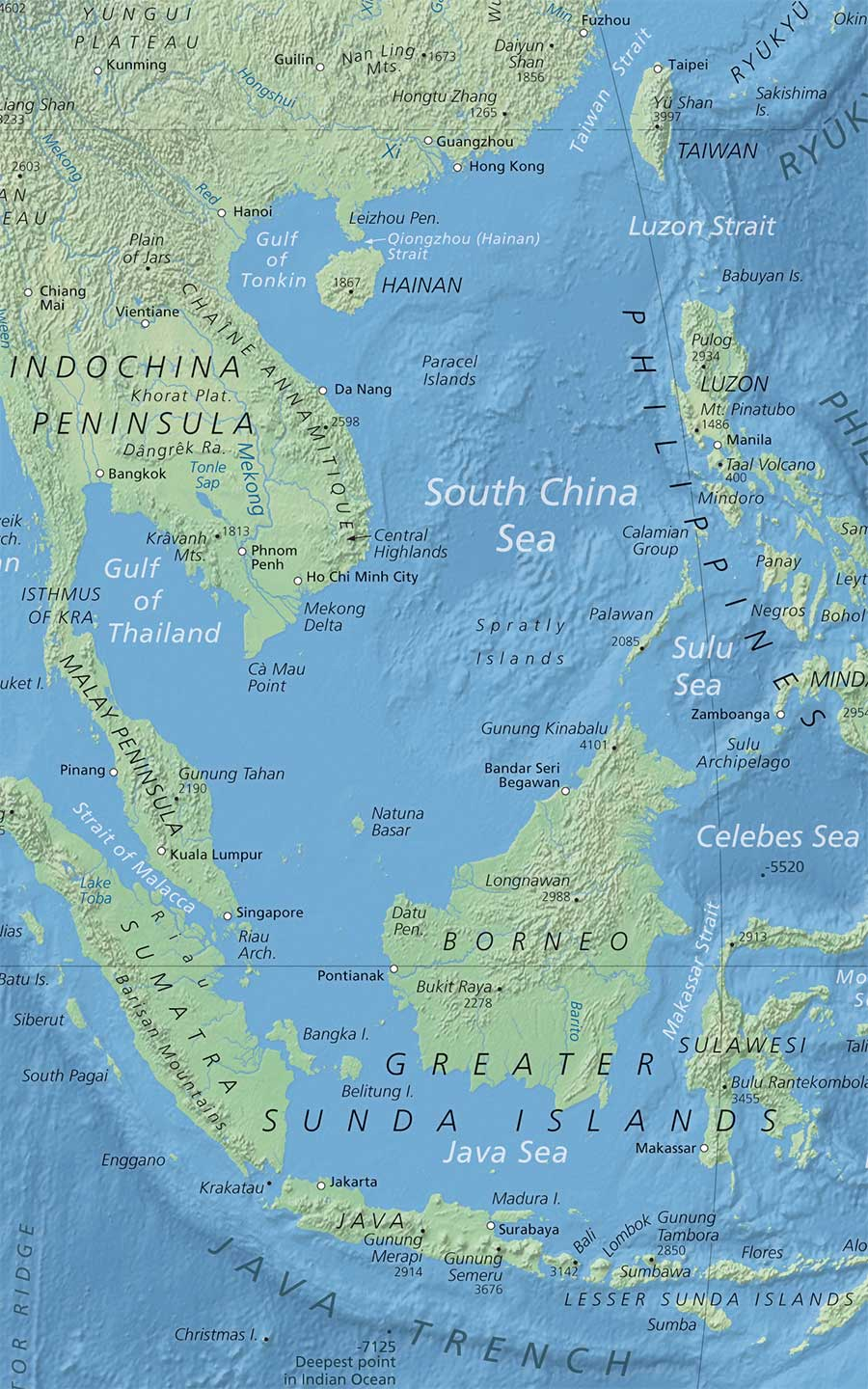 Political map of south china sea nations online project topographic map of south china sea gumiabroncs Images