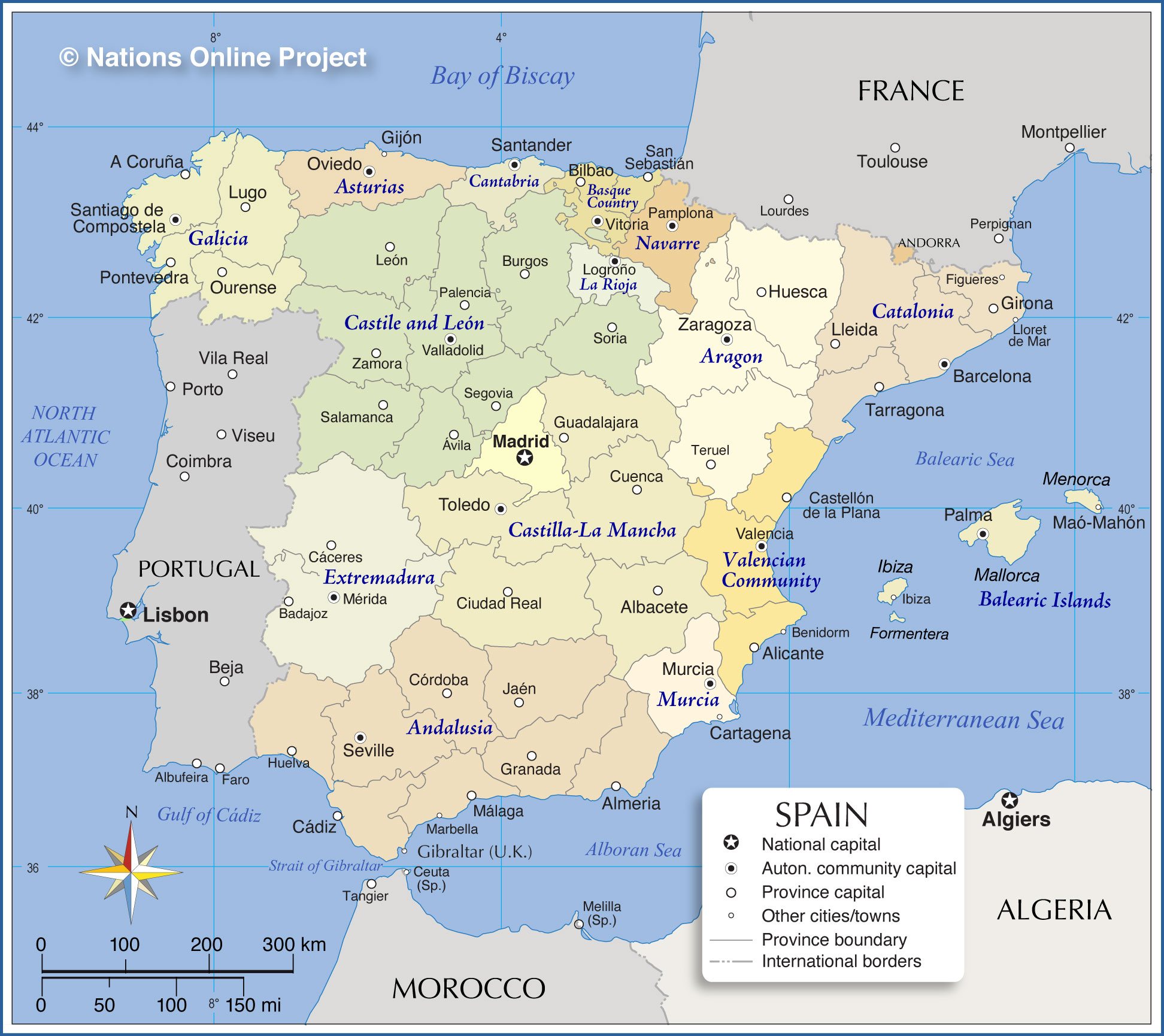 Administrative Map of Spain Nations Online Project