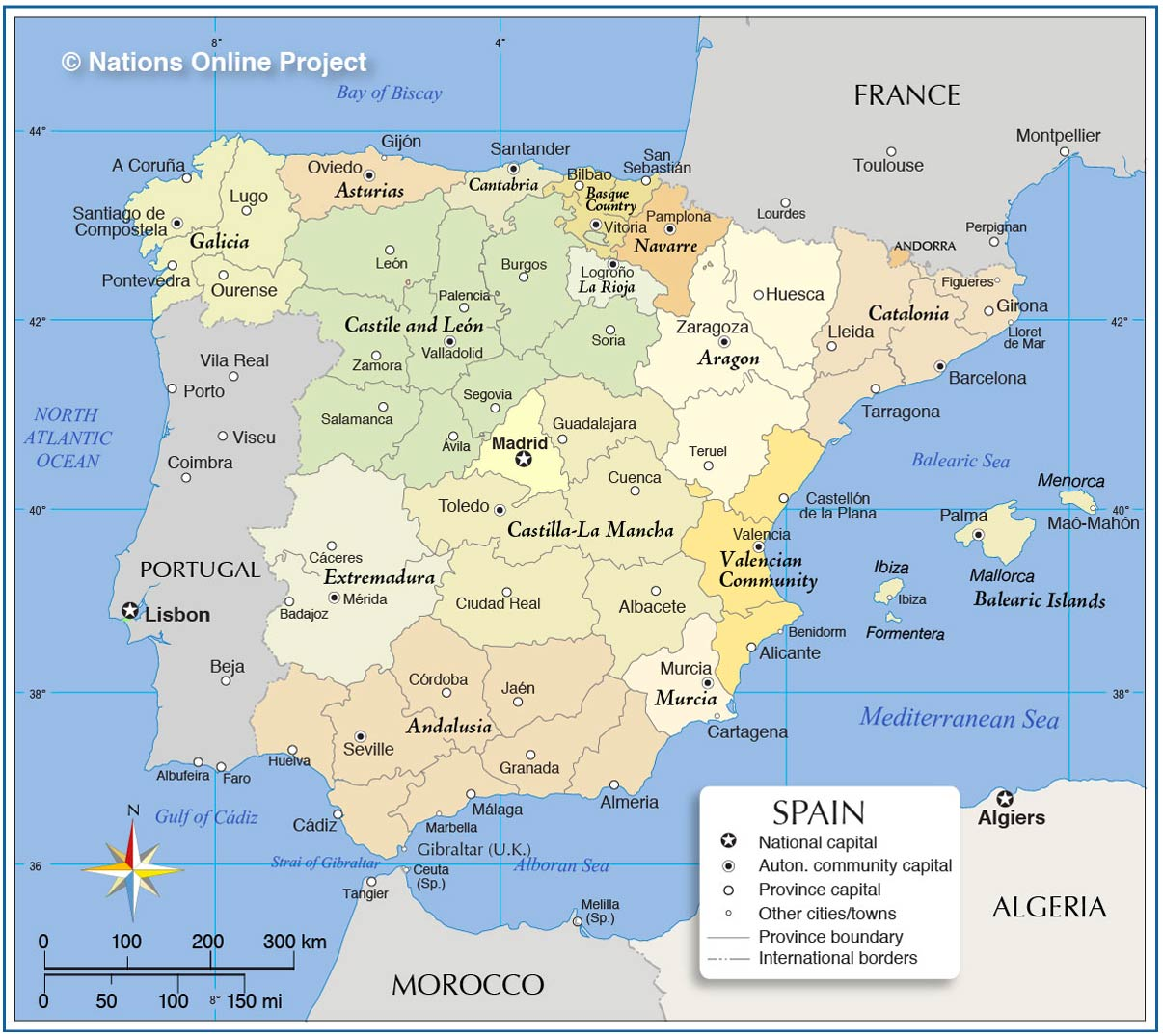 Administrative Map of Spain with Autonomous Communities and Provinces.