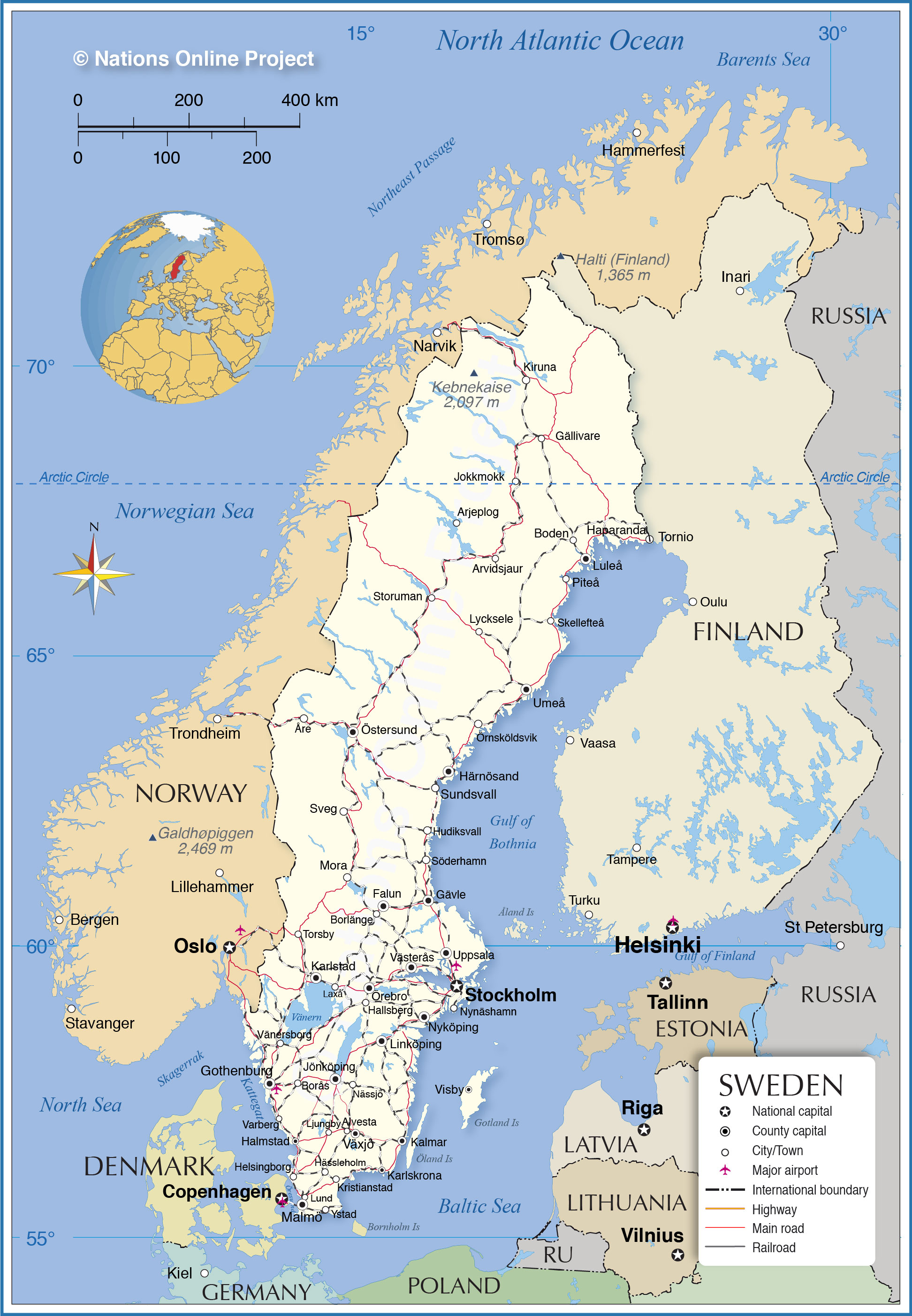 Political Map Of Sweden Nations Online Project - Sweden map airports