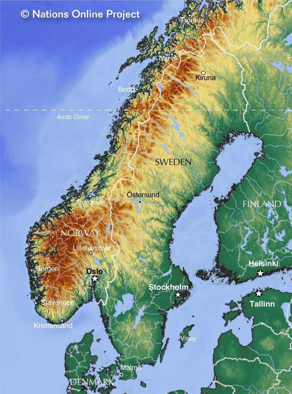 Topographic map of the Scandinavian Peninsula showing Sweden and Norway
