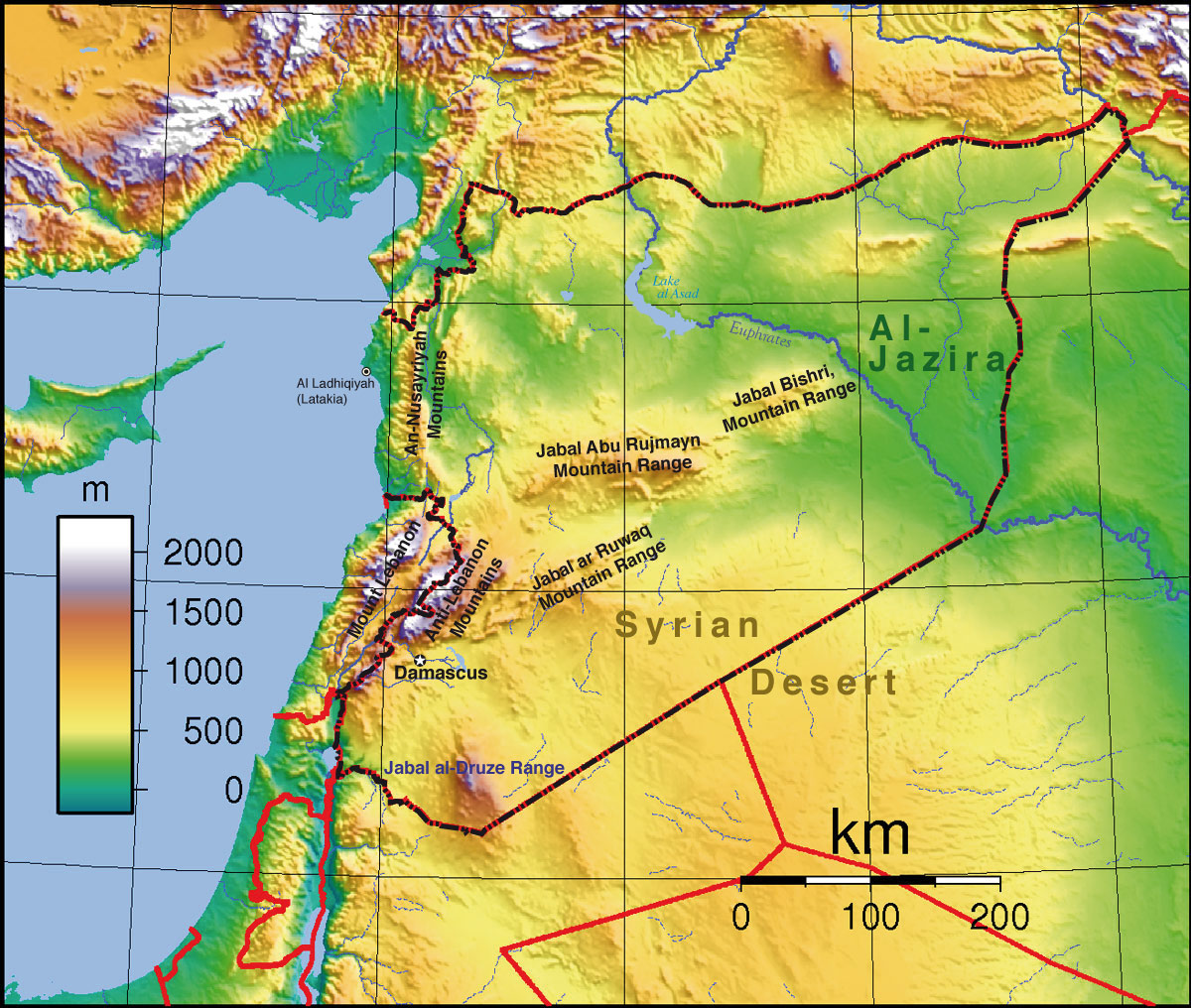 Topographic Map of Syria