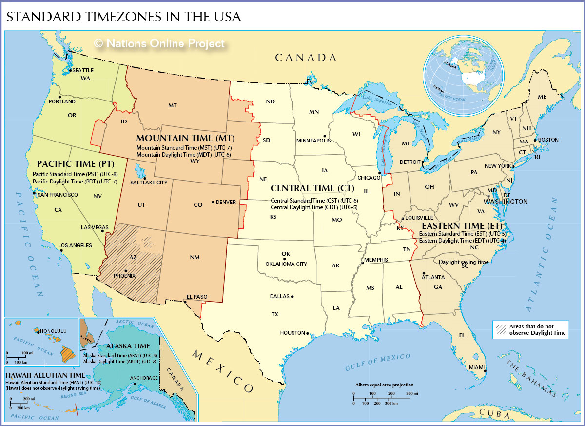 Time Zones Map Time Zone Map of the United States   Nations Online Project Time Zones Map