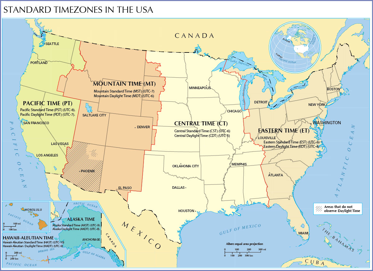 USA Time Zone Map With States With Cities With Clock With Arizona