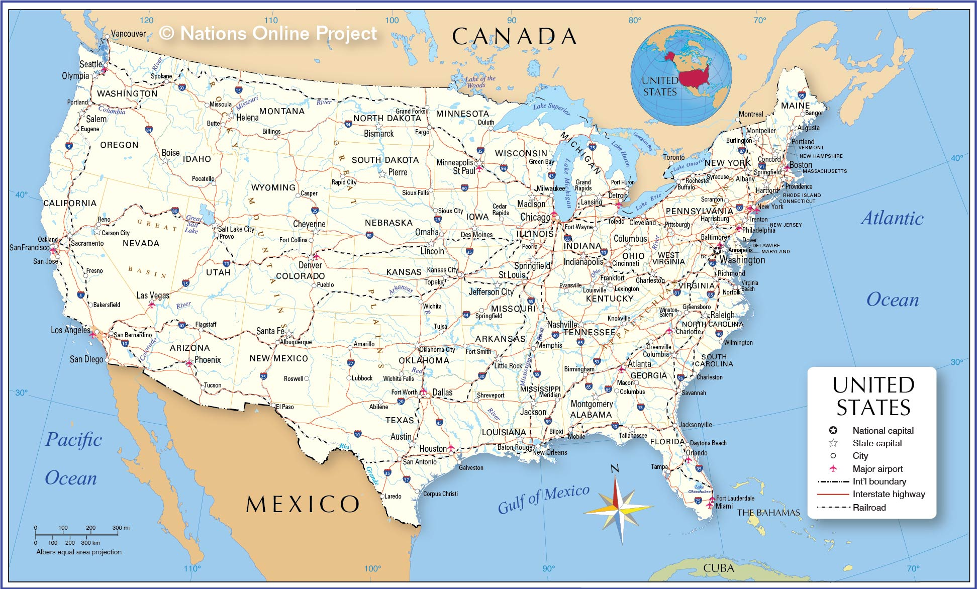 Map Of Us Countries Map of the United States   Nations Online Project