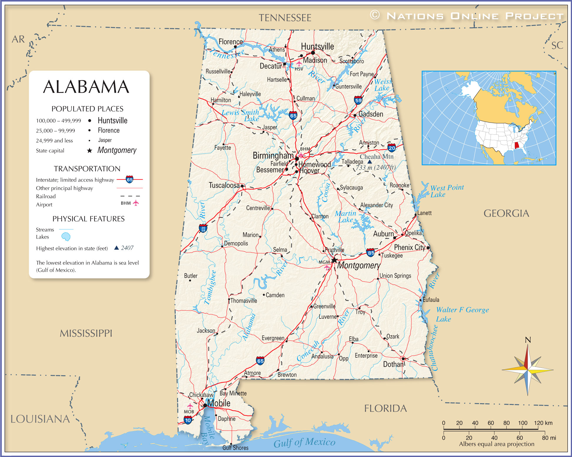 Reference Map Of Alabama USA Nations Online Project - Usa map with cities and states detailed