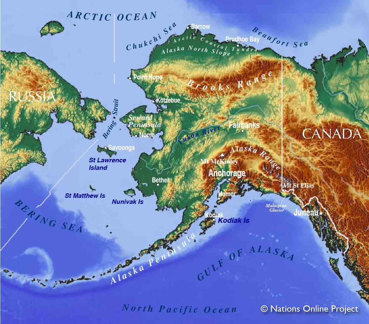 Map Of Russia And Alaska Map of Alaska State, USA   Nations Online Project