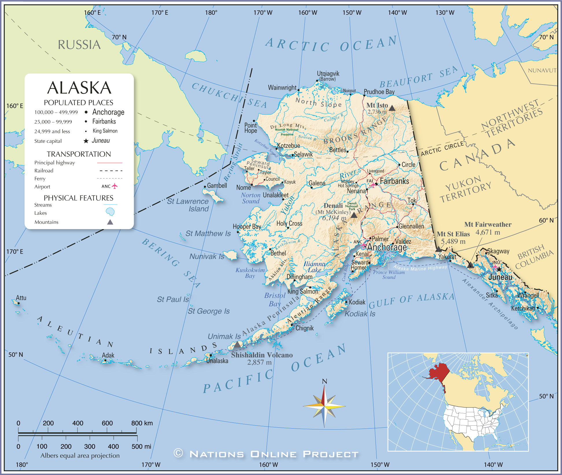 Reference Map Of Alaska USA Nations Online Project - Usa map with hawaii and alaska