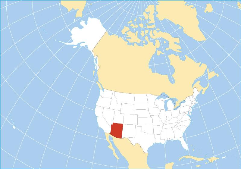location map of arizona state usa