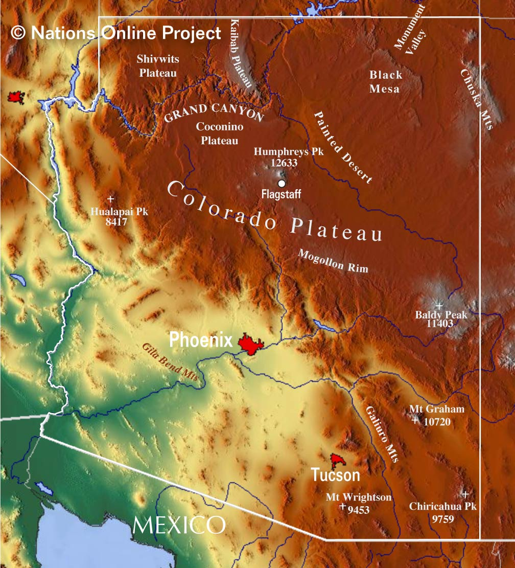 Reference Maps of Arizona, USA - Nations Online Project