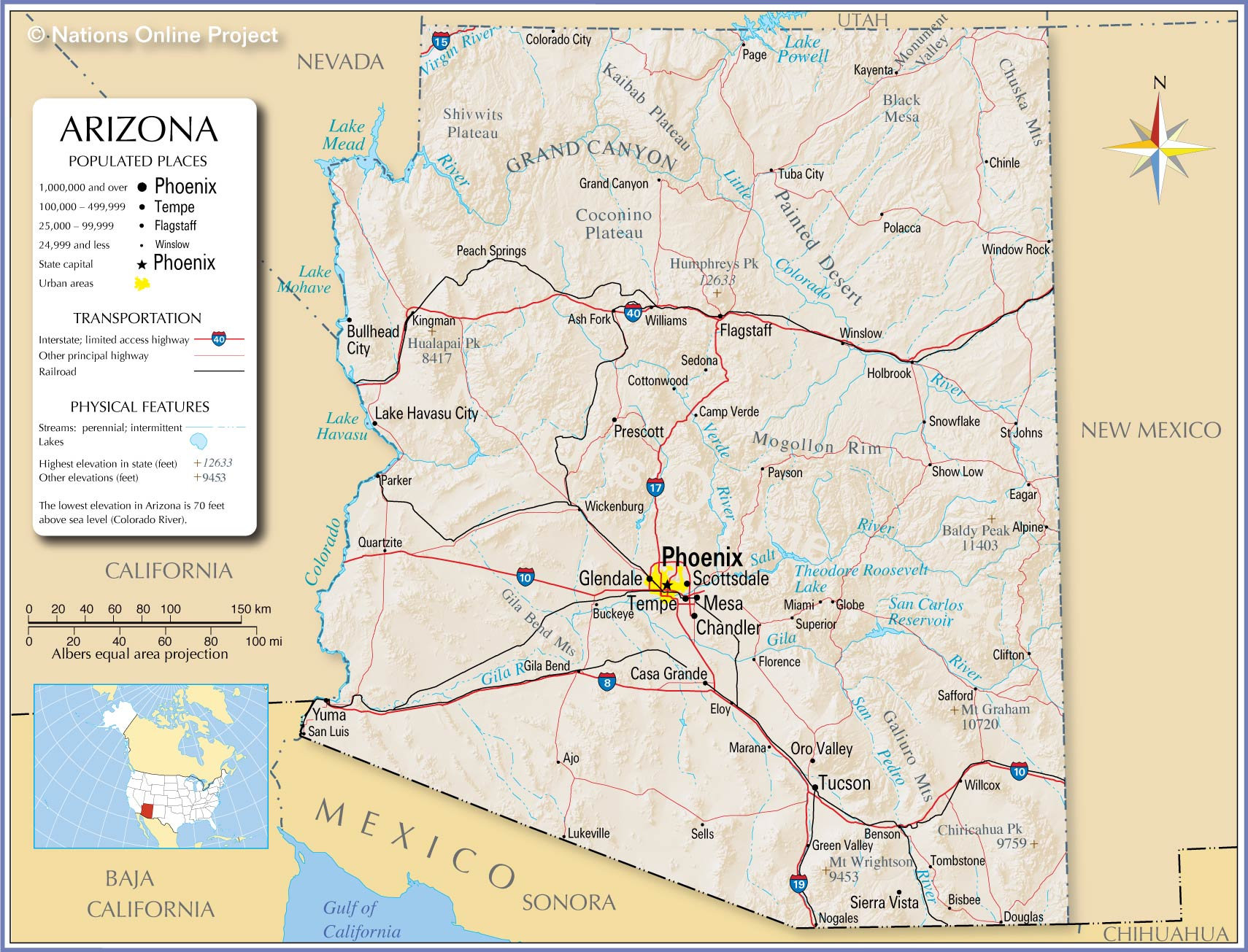 Reference Map Of Arizona USA Nations Online Project - Usa map with cities and states detailed