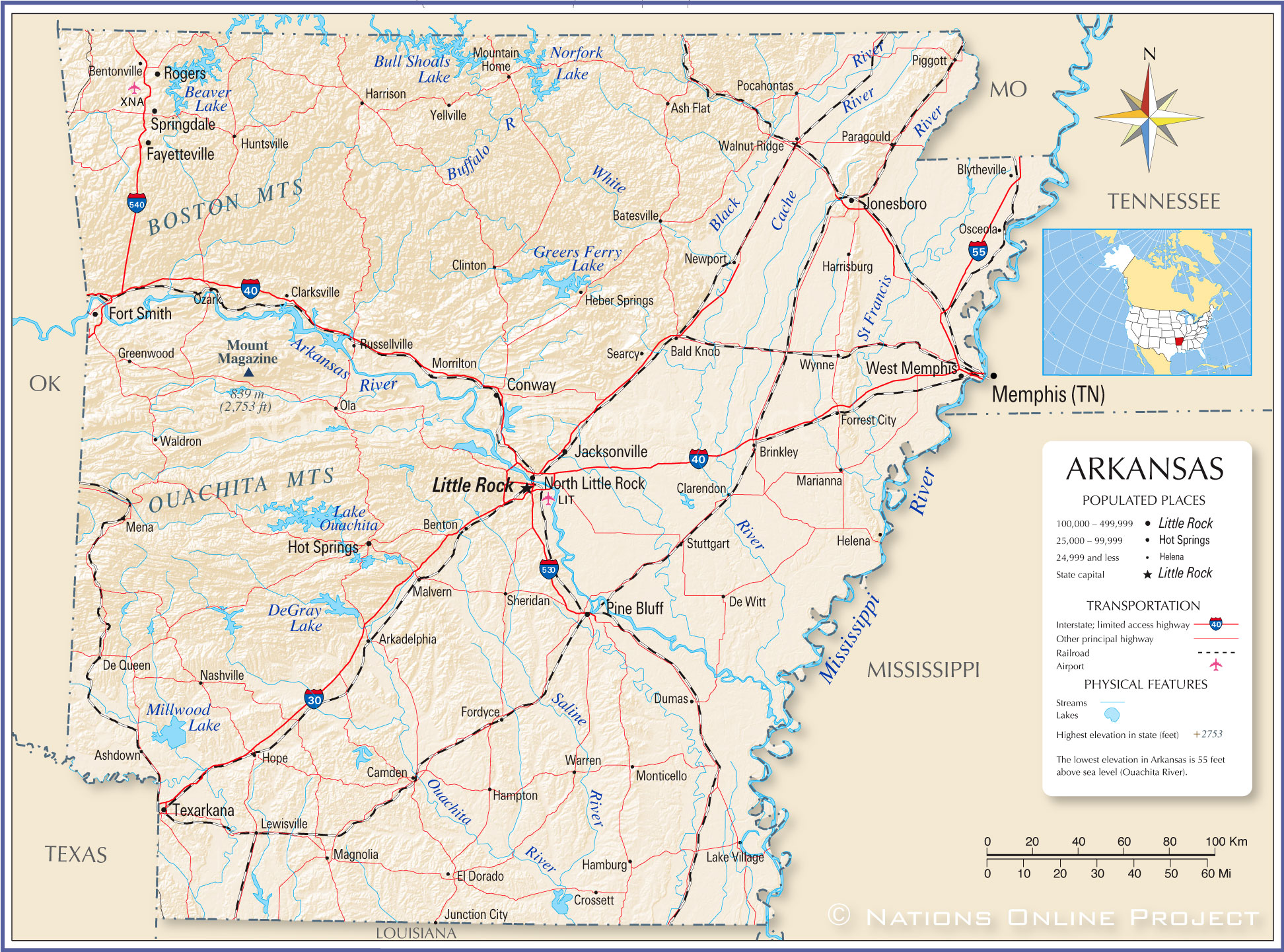 Reference Map Of Arkansas USA Nations Online Project - Us map with cities and rivers