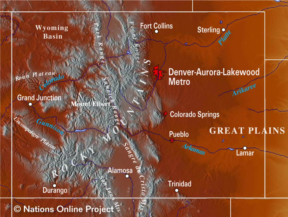 Topographic Map Colorado Springs.Reference Maps Of Colorado Usa Nations Online Project