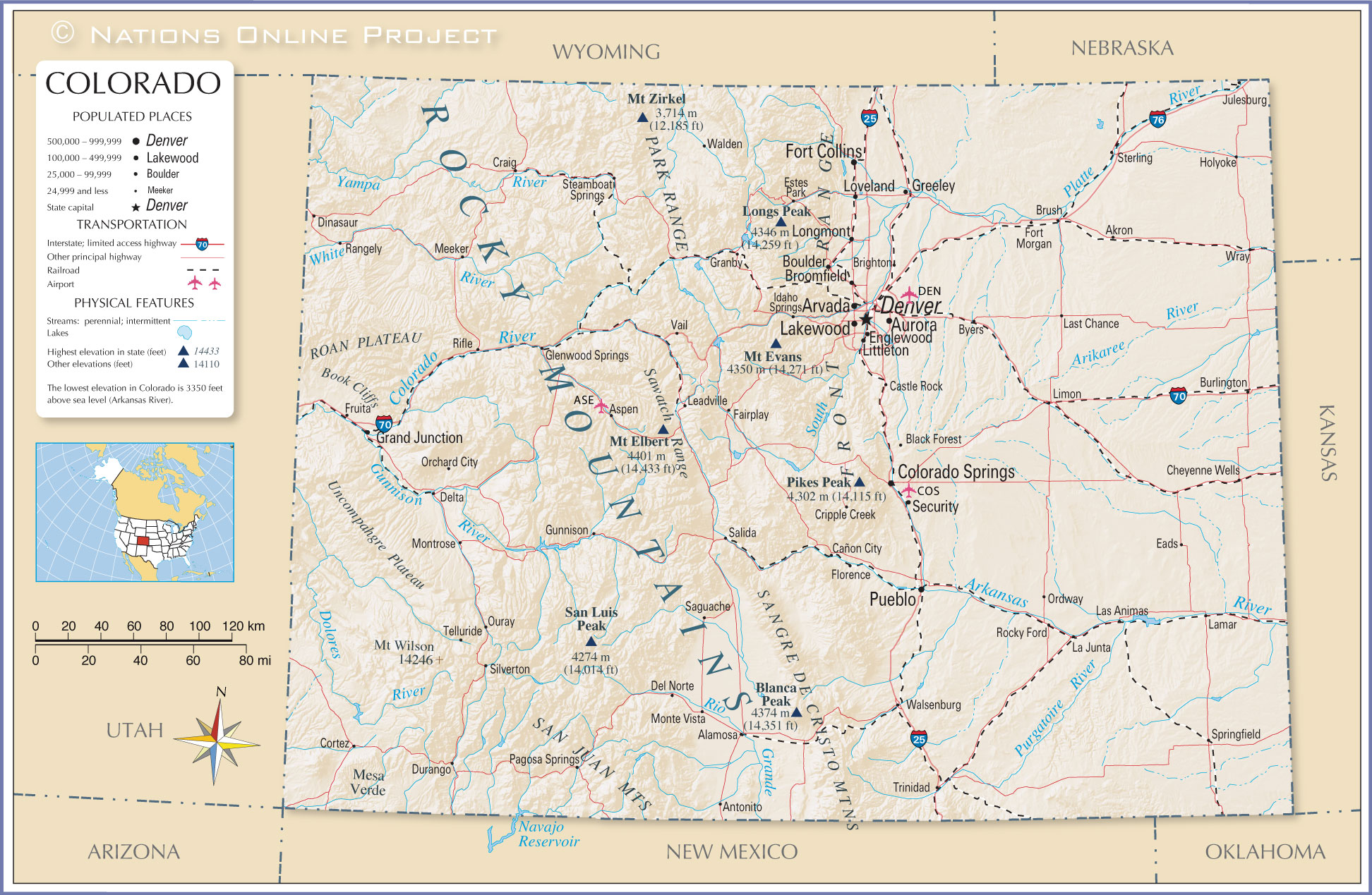 Reference Map Of Colorado USA Nations Online Project - State of colorado map