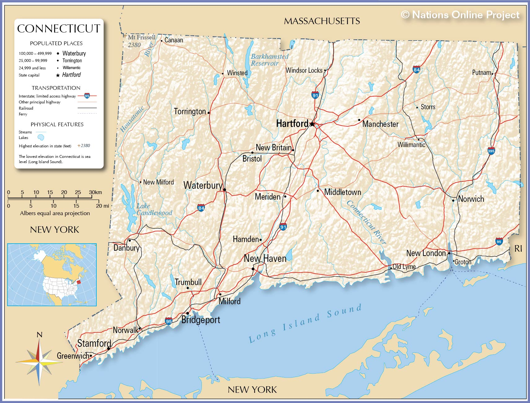Reference Map Of Connecticut USA Nations Online Project - Mountain map of us