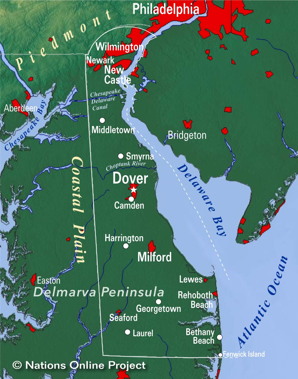Delaware location on the us map
