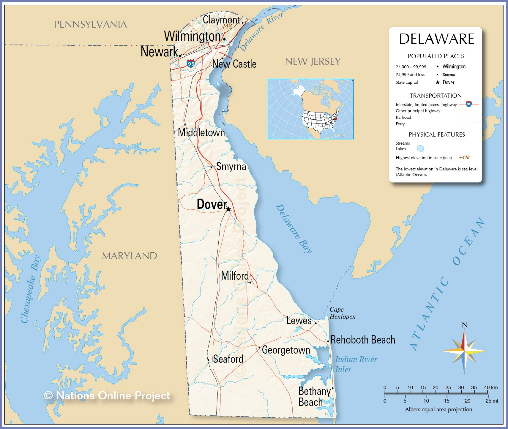 Reference Map Of Delaware USA Nations Online Project - Delaware cities map