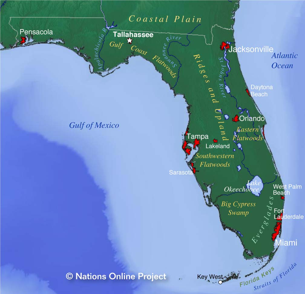 Reference Map Of Florida USA Nations Online Project - Flordia map