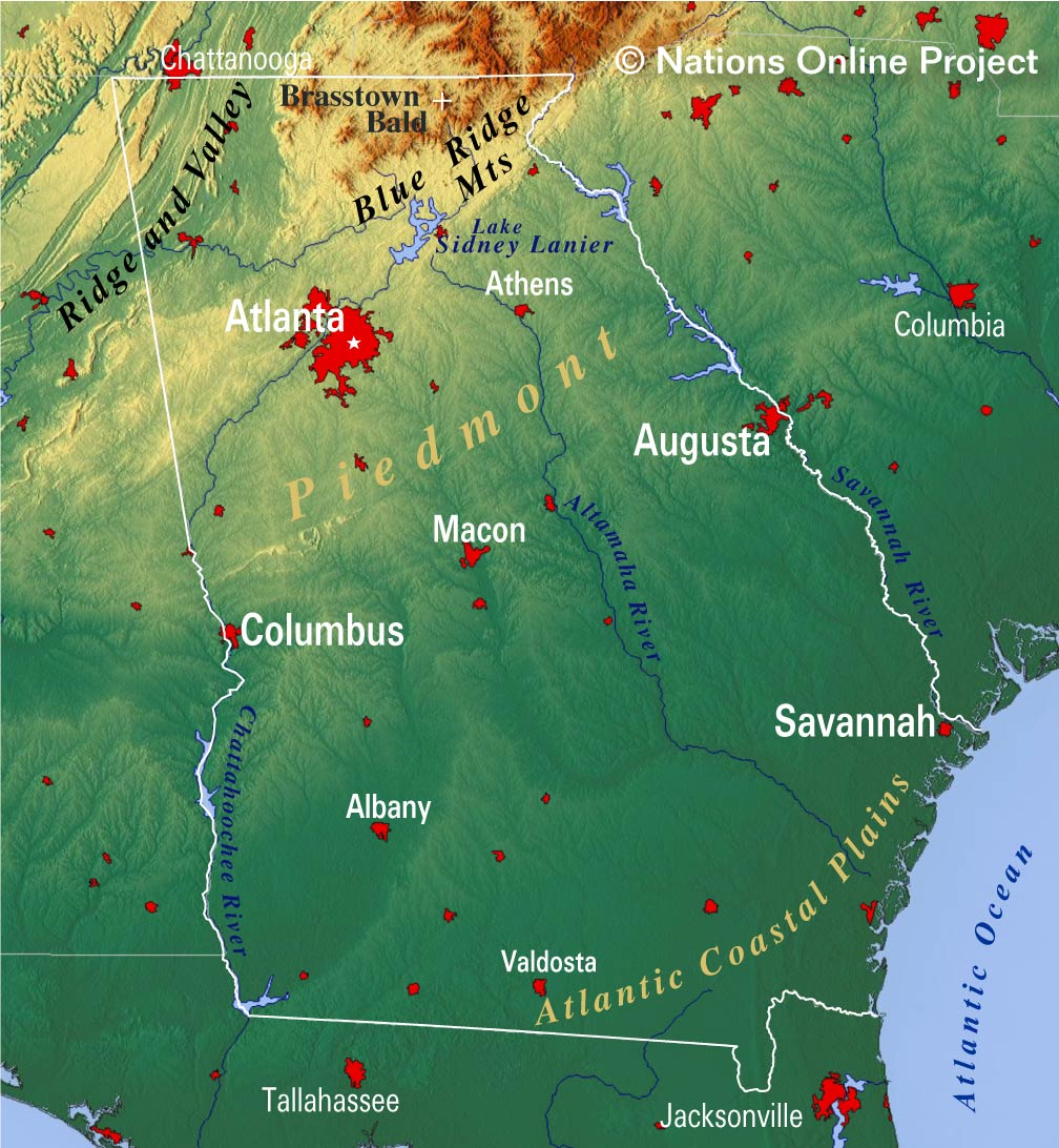 Map Of Georgia Augusta.Reference Maps Of Georgia Usa Nations Online Project